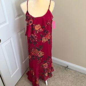 Xhilaration M Burgendy Floral Dress Tassel NWT